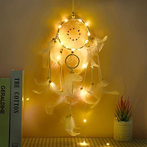 Enticerowts Weihnachts-LED-Licht mit Feder-Perlen Traumfänger Wohnzimmer-Dekoration schön
