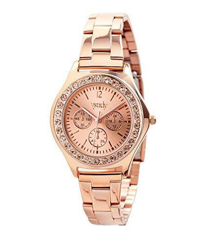 SIX roségoldenes Geschenk Box Set mit Uhr und drei Armbändern, Glitzer, Strass, Infinity (388-285)
