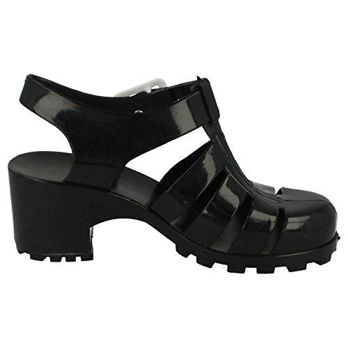 Girls Spot On Chaussures Talons Jelly Noir