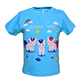 Beanie Bugs Half Sleeves printed Casual Sky Blue T-Shirt for Boys (0-6 Month)