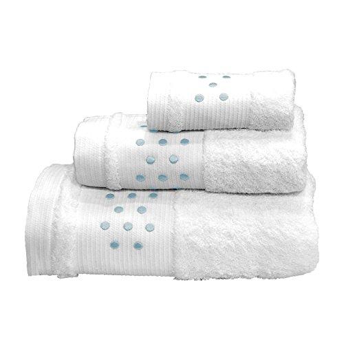 Lunares Toallas De Baño–3Pieces Set–Toalla de mano, toalla de baño (+ + toalla para la cara (–Blanco W/Azul