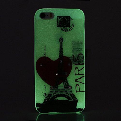 Etsue iPhone SE/5S/5 TPU Coque,Luminous Light Flexible Laser Reflect Blue Light Doux Housse pour iPhone SE/5S/5,Premium Slim TPU Gel Soft Back Cover Protecteur Coque Étui pour iPhone SE/5S/5,Rhineston Tour,amour