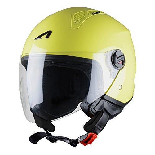 Astone Helmets - MINIJET monocolor - Casque jet - Casque jet urbain - Casque moto et scooter compact - Coque en polycarbonate - Lemon S