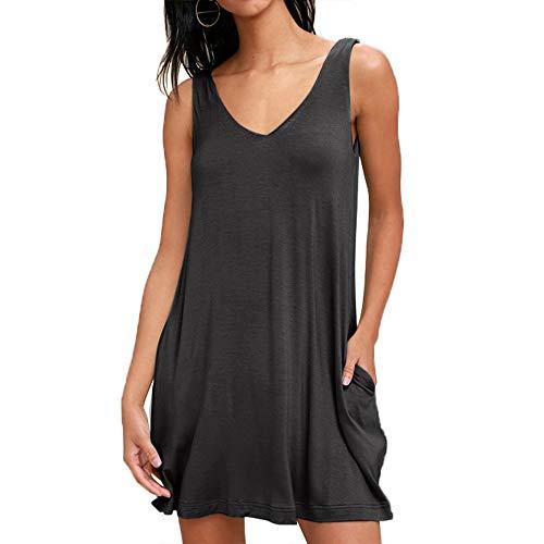 Frauen Damen Sommer ärmellose Solide Tank Top Kleide Casual Baumwolle Sommerkleid T-Shirt Kleide Beiläufige Bluse Longshirt, Dunkelgrau, M -