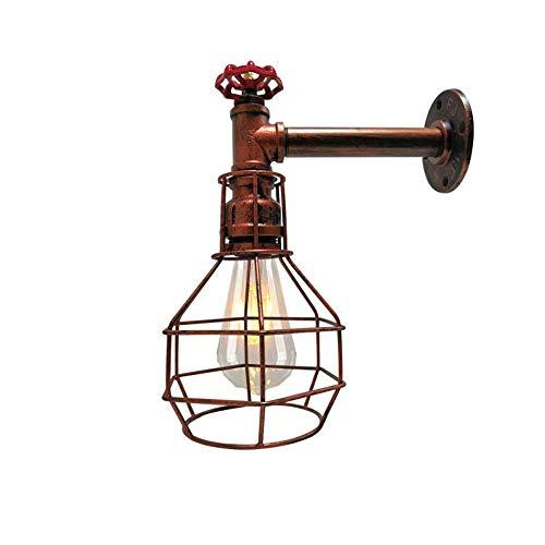 AZWE Lámpara de pared tipo loft Lámpara de jaula de hierro antiguo 1 luz Lámpara de pared de la cocina americana con pasillo de la isla Escalera Almacén,Latón