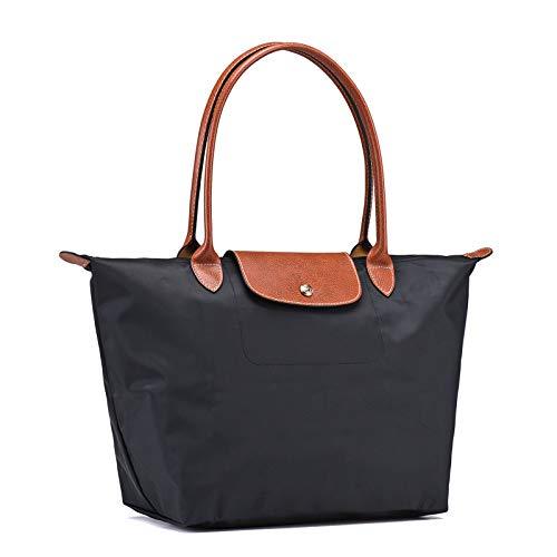 longchamps_ Damen Schultertasche Tote Tasche Faltbare Einkaufstüten Reisetasche (Schwarz) -