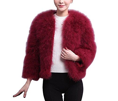 Donna giacca corto in pelliccia ecologica cappotto invernale elegante giacca corta a maniche lunghe m vino rosso