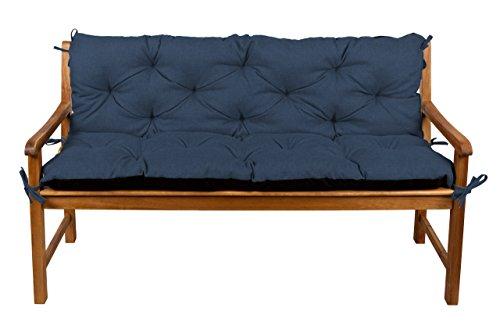 Bankauflage Bankkissen Sitzkissen + Rückenlehne für Hollywoodschaukel Gartenpolster (170x50x50, 17 Dunkelblau)