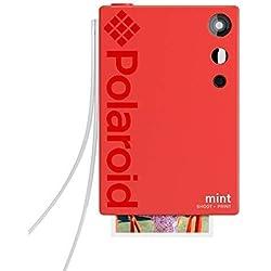 Polaroid Mint Appareil photo numérique à impression instantanée (Rouge), impression sur papier photo collé sur support Zink 2x3