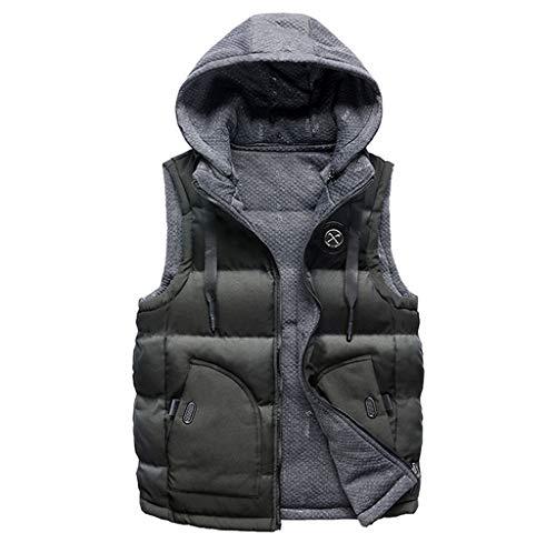 Manalian Herren Winter Mantel Doppelseitig Tragen Sie Baumwolle Warm Mit Kapuze Dicke Weste Jacke