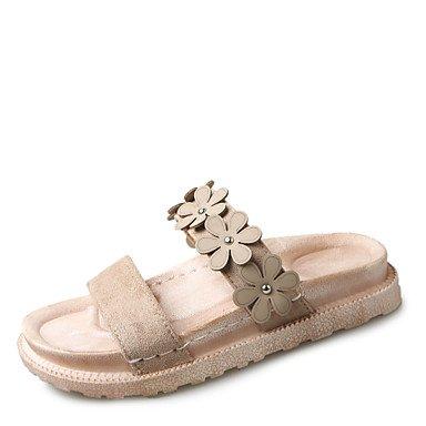 zhENfu Donna pantofole & flip-flops liane vello estate outdoor Abbigliamento sportivo a piedi Applique Liane marrone scuro Beige 1A-1 3/4in Beige