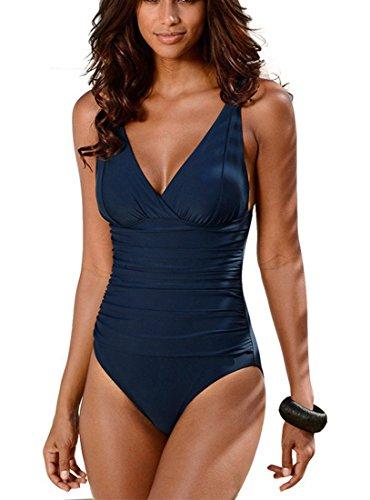 DFXIU V-Collo Costume da Bagno intero Donna Push up Monotoni Retro Tankini Regolabile Costume da Mare Sexy Pezzo Intero(S-4XL) (M(EU32-34), Blu intenso)