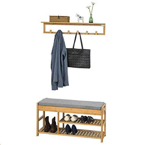 SoBuy Mueble Recibidor Set de 1 Zapatero y 1 Perchero de Pared,FSR47-N+FHK06-N,ES Perchero+Zapatero...