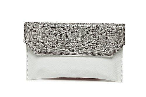 Borsa a mano, borsa a mano di diamante di moda, con un sacchetto del pacchetto di diamanti, sacchetto di spalla diagonale del diamante ( Colore : Nero ) Bianca