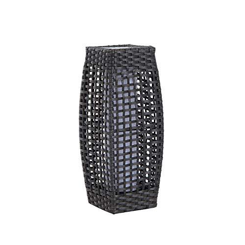 Outsunny Vollweide 48cm Outdoor Terrasse Garten Sonnendeck solarbetriebene LED stehend Rattan Lampe-Kaffee -
