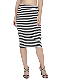 My Swag Women's Pencil Skirt Elastic Waist Band Solid Color Skirt