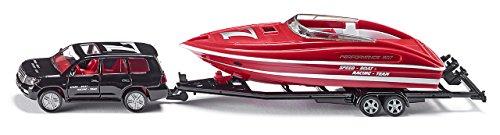 SIKU 2543, Voiture particulière avec bateau à moteur, 1:55, Métal/Plastique, Noir/Rouge, Bateau flottant