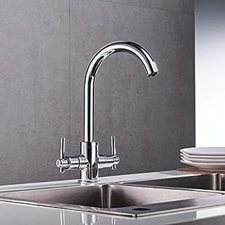 Wanfor Chrome Küchenarmaturen Double Hole Griffe Runde Waschbecken Wand-in Mix Taps, Küchen Badinstallation Waschtischarmaturen