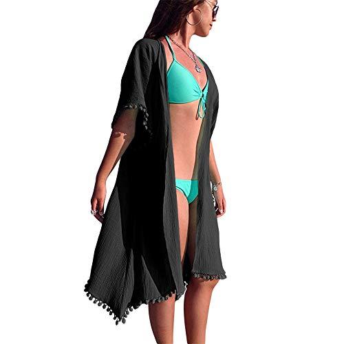 Strandkleid Damen Frauen vorne offen Quaste Pompom Trim Maxi Kleid Flowy Kimono Cardigan Strandkleid Badeanzug Sonnencreme Bikini Cover-Up für Sie selbst oder Ihre Freundin oder Ihre Famili -
