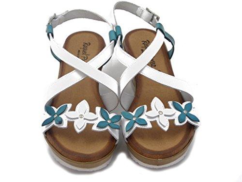 RAQUEL PEREZ, Leder Sandalen, Keil 6 cm., Gepolsterte Leder-Innensohle mit Gel und Latex, rutschfestem gummisohle , Sommer-23009 weiß/Türkis