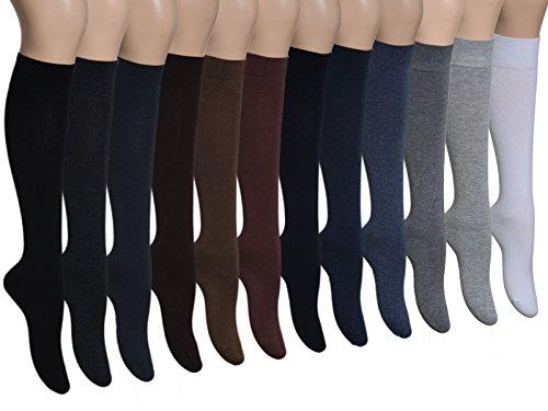 Vitasox 31030 Herren Kniestrümpfe Baumwolle Baumwollkniestrümpfe Herrenkniestrümpfe ohne Naht einfarbig 6er Pack schwarz anthrazit marine 47/50