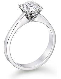 Diamant Ring 1.05 Ct W D/VS2 Round 18 Karat (750) Gelbgold (Ringgröße 48-63)