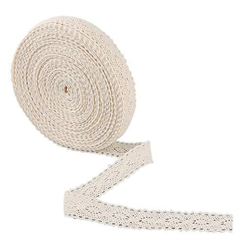 Finebuying 15m Vintage Baumwolle Crochet Lace Trim Hochzeit Braut Band Sewing Craft   Spitzenbesatz   Vintage Style Spitzenband (Beige) - Crochet Trim Band