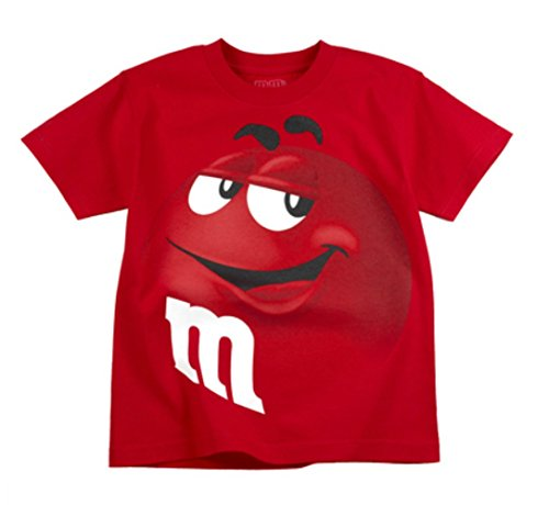 Silly Kostüm - M&M M T-Shirt mit Aufdruck Candy Silly Character Face, Gr. S, Rot