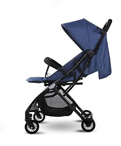 BZR-MY Baby-Kinderwagen Baby Landscape, Mini-tragbare Klappwagen, Pull-Stange Typ Boarding Aircraft Liegerad, Full-Peng Vierräder Trolley,Blue