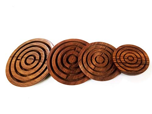 RADANYA Set of 4 Labyrinth Game Ball-in-a-Maze Puzzles Round Wooden Game for Kids, Adults, Boy & Girl