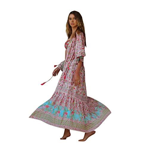 LILIHOT Frauen Sommer Kleid Böhmisch Casual Maxikleid Gedruckt Taille V-Kragen Chiffon Strand Lange Kleider Damen Blumen Kleid Elegant Langarm Floral Print Böhmischen Strand Kleider -