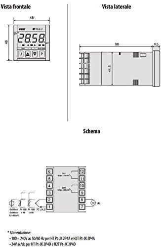 CONTROLADOR DE TEMPERATURA DIGITAL HT PT JK - 2P4A TAMAñO DEL PANEL 48X48 MM