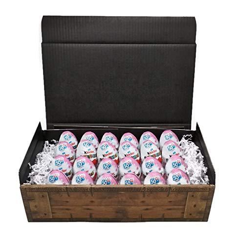 Kinder Überraschung - 24 Eier (rosa Mädchen Edition) in Geschenkkarton mit Schatzkisten Optik, perfekt als Geburtstagsgeschenk