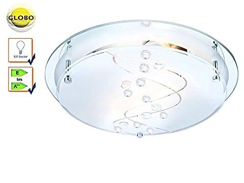 globo 48090-2 E27 2 x ILLU Metal White Chrome Ballerina I Ceiling Lamp