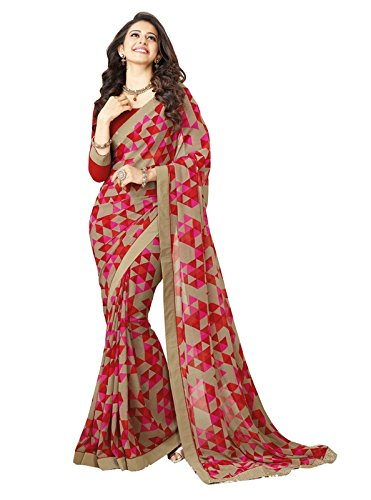 Shivalika Tex Women's Georgette Saree With Blouse Piece (Rakul_Red !C_170, Free Size)