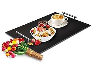 Sendez Servierplatte aus Schiefer Betttablett Frühstückstablett Tablett Schieferplatte