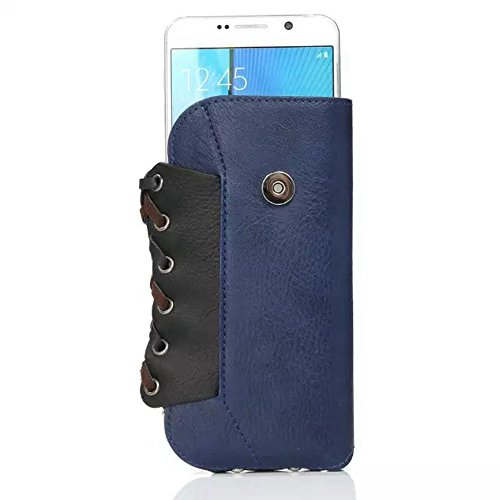 Gemischte Farbe Rhino Textur PU-Leder Moutaineering Telefon Tasche Universal-Gürtel-Handyhülle für 5,5 Zoll ( Color : Blue ) Blue