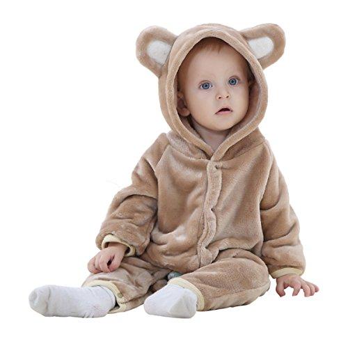 Schlafsack Kostüm Bär (Happy Cherry Baby Romper Jungen Bären Art Hooded Flannell Sleepwear Kleinkind)