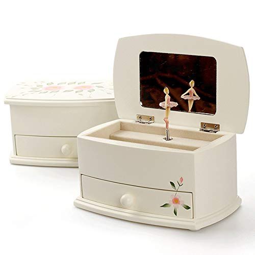 Slivy Holz Musical Jewelry Box for Mädchen Ballerina-Spieluhr Kinder Schmuckschatullen Weiß Hand Painted Trinket-Aufbewahrungsbehälter mit Schublade for Kinder kleinen Mädchens Geschenke