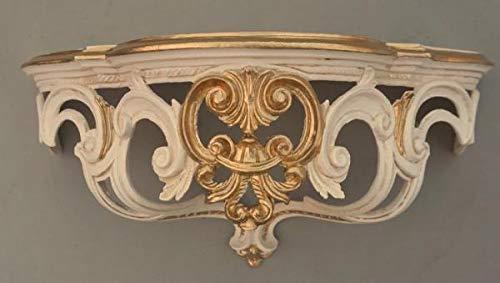 Barock, Konsole, Wandkonsole, Weiß-Gold, BAROCK Spiegelkonsole, Antik Ornament Cp72, 50x20x24