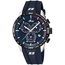 Lotus Marc Marquez Collection 2016 Men's Quartz Watch with Blue Dial Chronograph Display and Blue Rubber Strap 18257/1