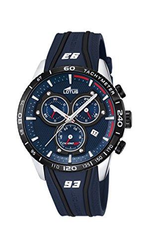 Lotus Marc Marquez - Reloj de cuarzo para hombre con cronógrafo para hombre (mecanismo de cuarzo, esfera azul y correa de caucho azul