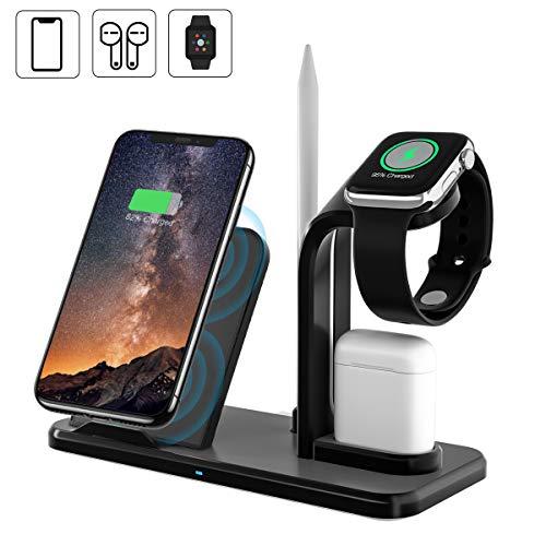 Yaature Fast Wireless Charger, 4 in 1 kabelloses Induktive Ladegerät Schnellladestation mit Stift ständer für iWatch 5/4/3/2/1, Airpods, iPhone 11/XS/XR/8, Samsung S9/S8, Alle Qi-fähige Telefone