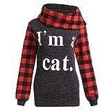Damen Hoodies Mumuj Mode I m a Cat Letters Printing Tops Plaid Shirts Tunika Langarm Pullover Festliche Sweatshirt Warme Herbst Winter Kapuzenpulli Pulli