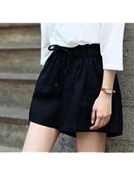 LEYAN-Pantalones cortos de algodon pantalones de pierna ancha cintura de mujer nuevo tamaño de ropa de ocio pantalones sueltos pantalones falda femenina delgada,XL,Black