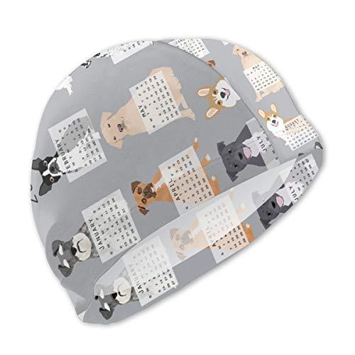 Guan_Collection Badekappen für Kinder 2019 Hundekalender Dogs Themed Tea Calendar Grey Badekappen Bademütze Kid Sonnenhut