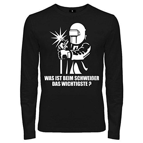 Männer und Herren Langarmshirt Schweißer mit W (mit Rückendruck)