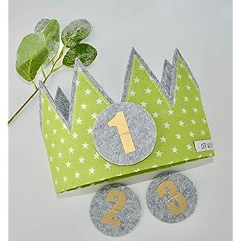 Der Wollprinz Geburtstagskrone, Krone, Kinder Geburtstag Kinderkrone Geburtstagskrone, Stoffkrone Grün mit den Zahlen 1,2,3,& 4