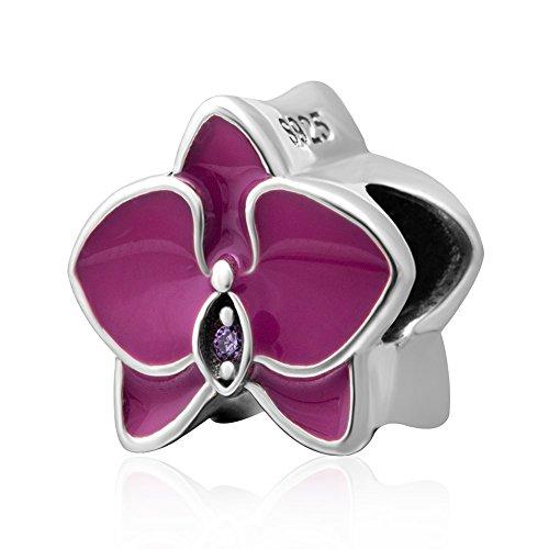Orchidee Charm 925Sterling Silber Flower Charme Jahrestag Charm Christmas Charm Herz Love Charm Familie Charm für Pandora Armband fuchsia
