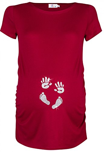 Happy Mama. Damen Baby Hände Fußabdruck T-Shirt Top Oberteil Schwang